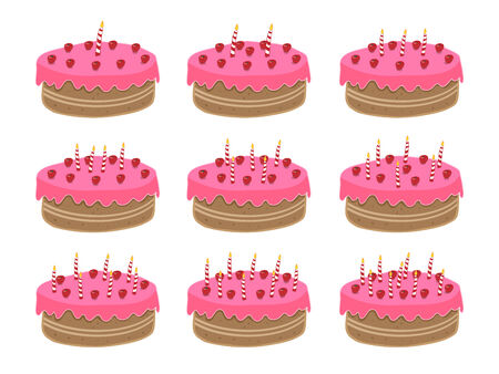 nine years old: Birthday cake. One year old to nine years old, but very easy to add more candles to reach any age! Illustration