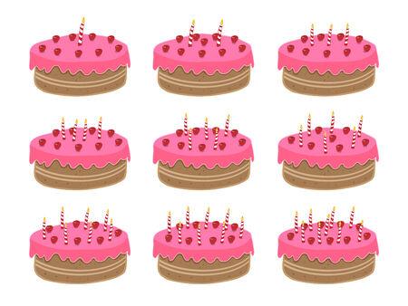Geburtstagstorte. Ein Jahr alt sein, um neun Jahre alt, aber sehr leicht, mehr Kerzen auf jeden Alters! Lizenzfreie Bilder - 3938821