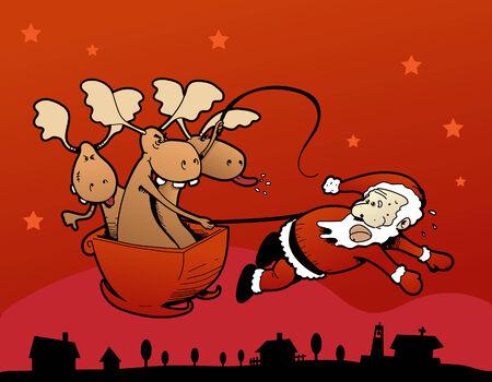 humoristic: Humor�stico ilustraci�n vectorial de los renos de Santa Claus que tire de la trineo!