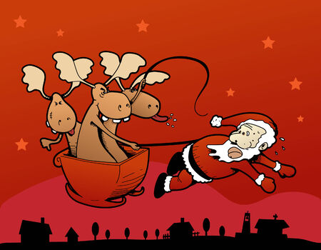 Humoristic vector illustration of the reindeer making Santa Claus pull the sleigh! Çizim