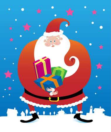 Vector illustration of smiling Santa Claus holding presents for the children. Vector