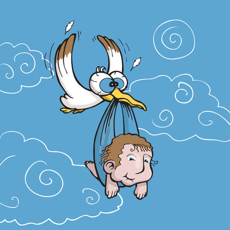 baby delivery: Vector illustration of a stork carrying a cute baby