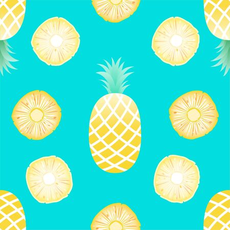 Vector Seamless Pattern with Pineapples, summer concept.