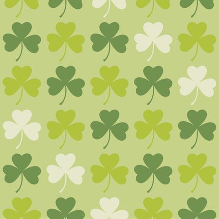 Saint Patrick's Day seamless pattern shamrock clover leaves for background. Vector illustration.
