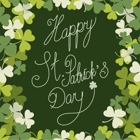 Saint Patrick's Day border with tree leaf clovers on green background. Vector illustration.