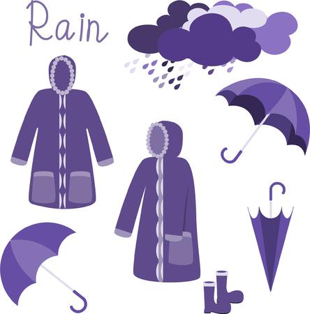 Raincoat vector on white background,rainy season concept.