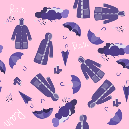 Raincoat vector on pink background,rainy season concept. 版權商用圖片 - 105658719