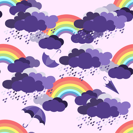 rainbow with clouds seamless pattern on  purple background. 向量圖像