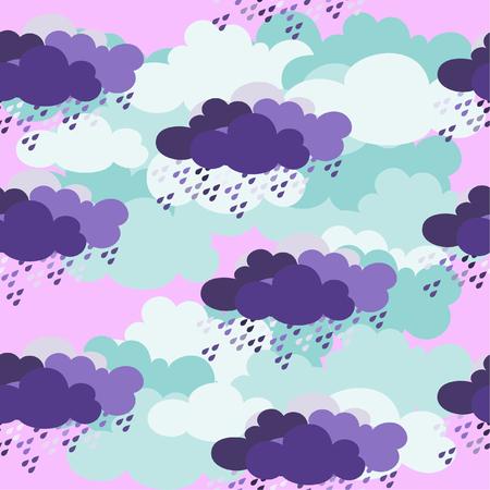 clouds seamless pattern on purple background.