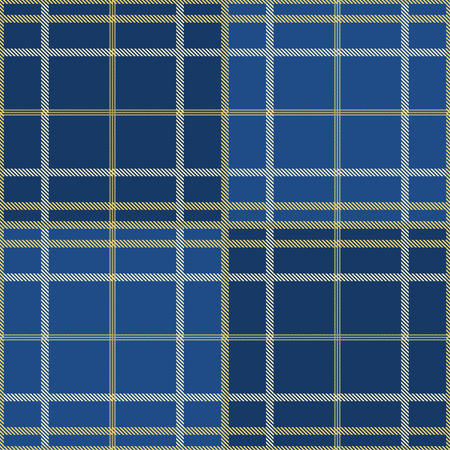 Seamless tartan plaid pattern in blue tone and yellow line. 向量圖像