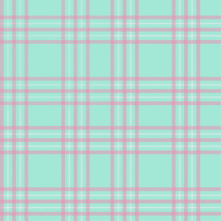 Seamless tartan plaid pattern in blue tone and pink line.