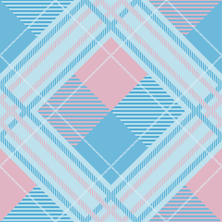 Seamless tartan plaid pattern in blue and pink tone. 版權商用圖片 - 105656437