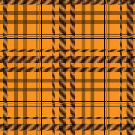 Tartan pattern,Scottish traditional fabric, orange tone background. Illustration