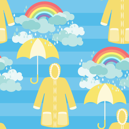 rainbow and raincoat with clouds seamless pattern on blue background.