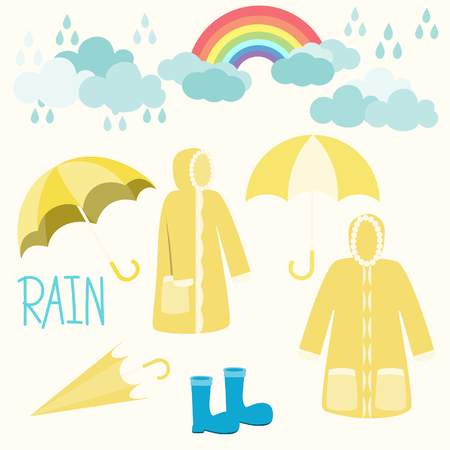 rainbow and raincoat with clouds on white background. 向量圖像