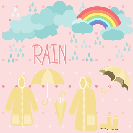 rainbow and raincoat with clouds on pink background.