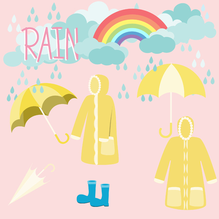 rainbow and raincoat with clouds on pink background. 版權商用圖片 - 107528563