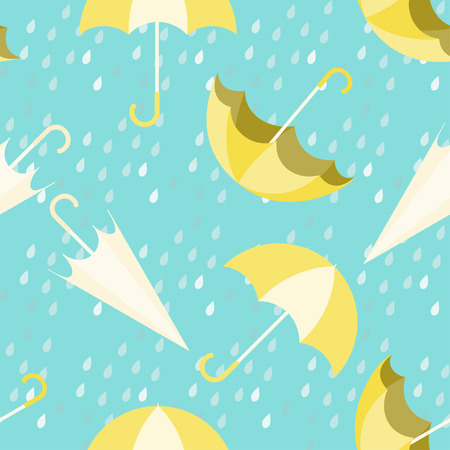 Umbrella seamless pattern design with rain drops on blue background,rainy season concept. 向量圖像