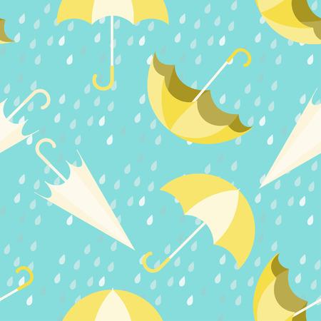 Umbrella seamless pattern design with rain drops on blue background,rainy season concept. 版權商用圖片 - 112226686