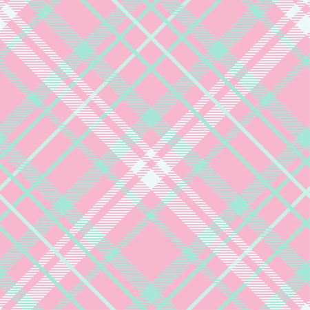 Seamless tartan plaid pattern in green and pink tone. 向量圖像