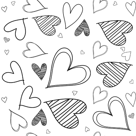 Abstract seamless heart pattern ,drawing freehand brush style ,Black and white tone. 版權商用圖片 - 111803961