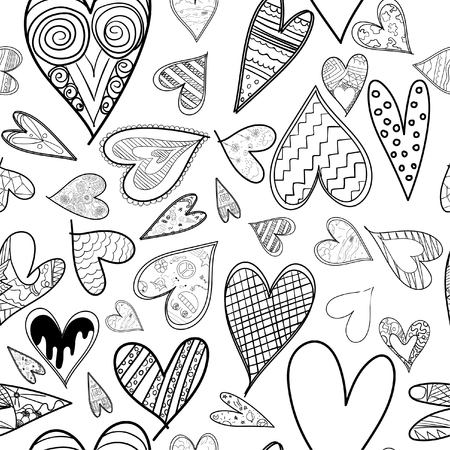 Abstract seamless heart pattern ,drawing freehand brush style ,Black and white tone. 版權商用圖片 - 111672211