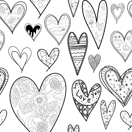 Abstract seamless heart pattern ,drawing freehand brush style ,Black and white tone. 向量圖像