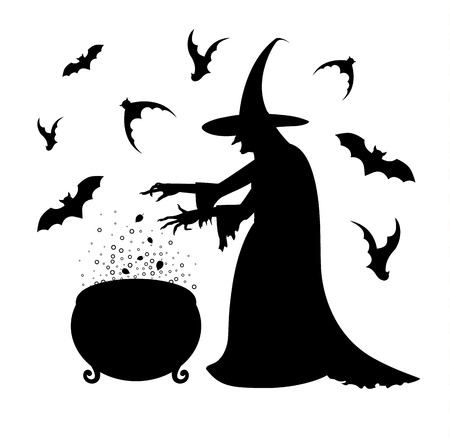 Black silhouette of a scary  witch who  cooks a potion in a cauldron. Happy Halloween poster. Illustration