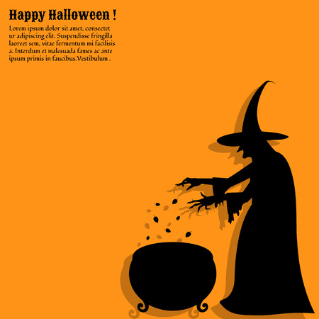 stir: Silhouette of a scary  witch who  cooks a potion in a cauldron. Happy Halloween poster.