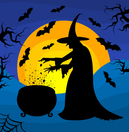 october 31: Old scary witch cooks a potion in a cauldron on sunset background. Halloween poster. Cartoon Halloween character. Illustration