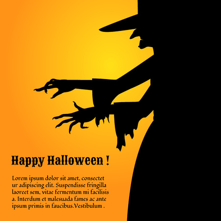 terrifying: Terrifying Halloween poster with a silhouette of scary witch. Illustration
