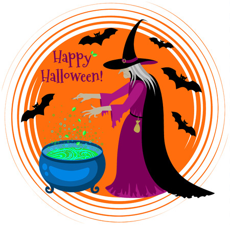 stir: Old scary witch cooks a potion in a cauldron. Happy Halloween poster. Cartoon Halloween character.