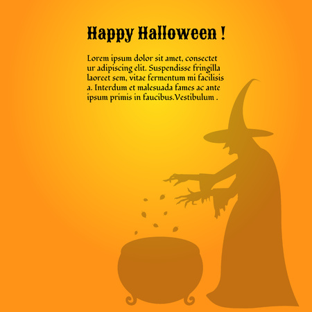 Silhouette of a scary  witch who  cooks a potion in a cauldron. Happy Halloween poster.