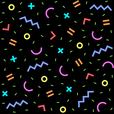 nineties: Seamless geometric vintage pattern in retro 80s style on the black background. Memphis style. Can be used in textiles, fashion, clothes, paper print and website backdrop.