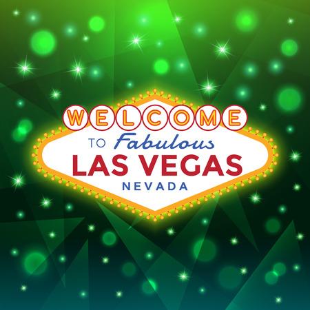 vegas strip: Las Vegas Sign against the green sparkling background. Illustration