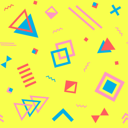 nineties: Seamless geometric vintage pattern in retro 80s style on the yellow background. Memphis style. Can be used in textiles, fashion, clothes, paper print and website backdrop. Illustration