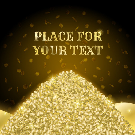 Poster with a pile of gold and falling money signs on a blue background, with space for your text.