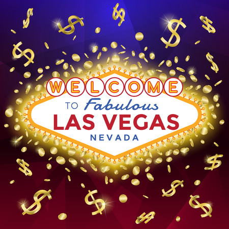 Las Vegas Sign on the dark background with burst of gold coins and banknotes. Illustration