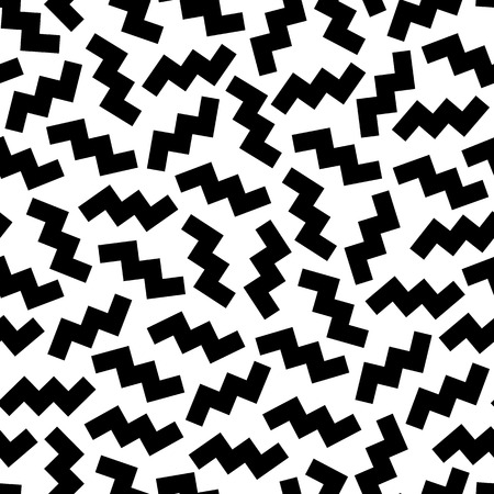 nineties: Seamless geometric vintage pattern in retro 80s style on the white background. Random scattered zigzag. Memphis style. Can be used in textiles, fashion, clothes, paper print and website backdrop.