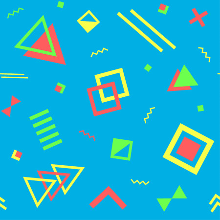 Seamless geometric vintage pattern in retro 80s style on the blue background. Memphis style. Can be used in textiles, fashion, clothes, paper print and website backdrop.