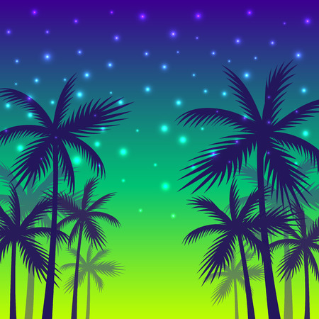 The shadows of palm trees on a sunset and evening shining stars background. Illustration