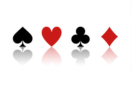 Four Suits Of Cards With Reflection On A White Background Illustration