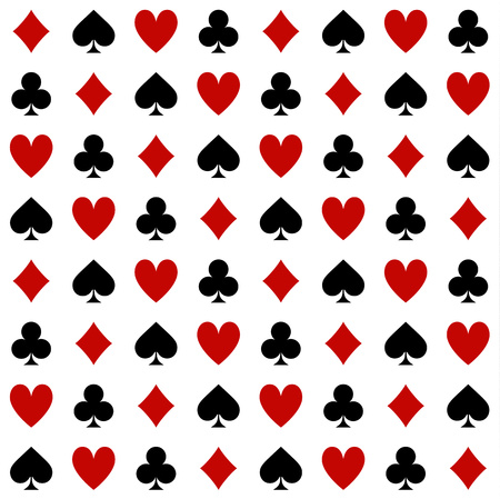 Four Suits Of Cards Seamless Pattern On A White Background
