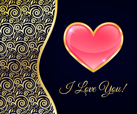rim: Glossy Heart In A Gold Rim On Black Background With Lace Insert, Greeting Card For Valentines Day.