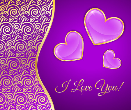 rim: Glossy Hearts In A Gold Rim On Purple Background With Lace Insert, Greeting Card For Valentines Day.