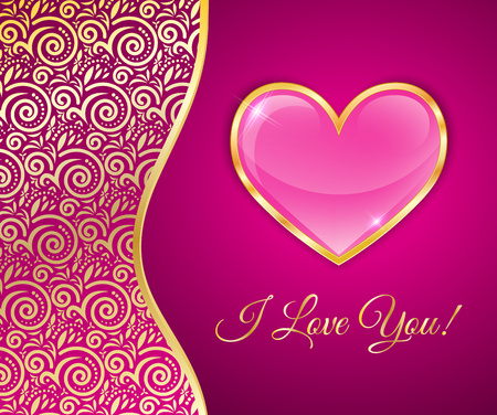 rim: Glossy Heart In A Gold Rim On Pink Background With Lace Insert, Greeting Card For Valentines Day. Illustration
