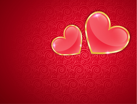 rim: Glossy Hearts In A Gold Rim On Red Background With Lace Insert, Greeting Card For Valentines Day.