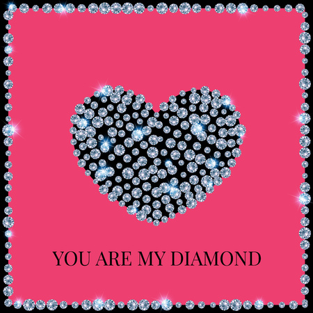 coeur diamant: Valentines Day Card Called You Are My Diamond. Heart Of Brilliants On A Pink Background, Framed.