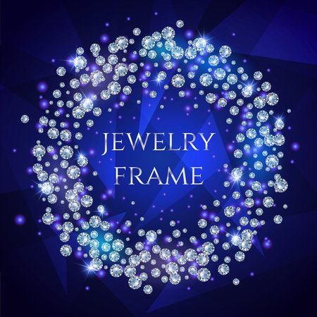 vignette: Glamorous Banner For Your Text With Sparkling Diamonds Scattered In A Circle On A Dark Stylish Background.