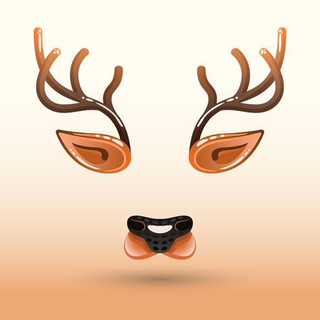 Cartoon muzzle of a deer face. Can be used for mobile applications, decorating photos and other entertainment games.